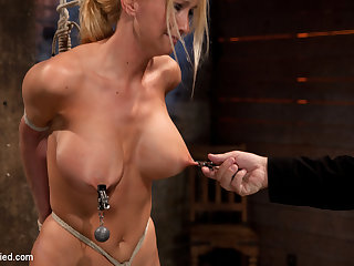 Bomb Shell Blond With Massive Breasts, Tan, Long Sexy Legs Gets Bound, Crotch Roped And Made To Cum - HogTied