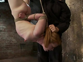 Redhead Suspended By Ankles With Rope, Face Fuckedflogged Until Her Skin Is Bright Pink. - HogTied