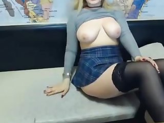 Blonde camgirl shows upskirt
